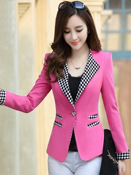 Ericdress Slim Color Block Plaid Blazer