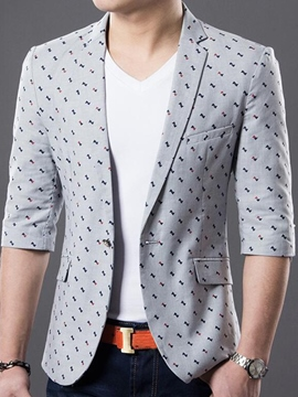 Ericdress Three-Quarter Sleeve Print Vogue Slim Men's Blazer
