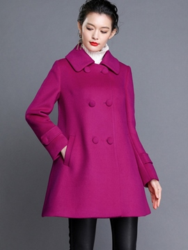 Ericdress Double Breasted A-Line Coat