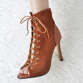 Ericdress Chic Lace up Peep Toe Stiletto Sandals