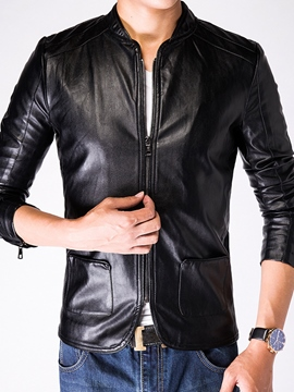 Ericdress Zip PU Pocket Vogue Slim Men's Jacket