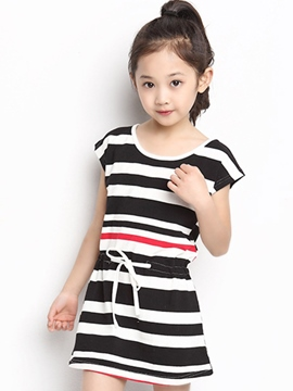 Ericdress Stripe Tie Waist Short Sleeve Girls Dress