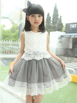 Ericdress Lace Patchwork Mesh Sleeveless Girls Dresses