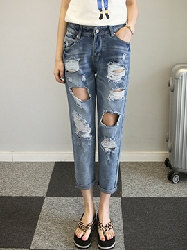 Ericdress Simple Nine Points Ripped Jeans
