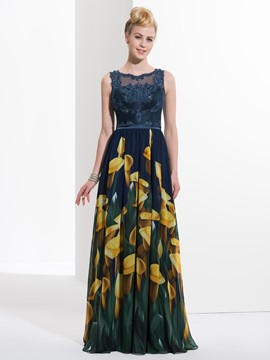Ericdress A-Line Straps Appliques Sequins Printed Long Prom Dress