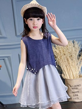 Ericdress Asymmetrical Mesh Pleated Girls Dresses