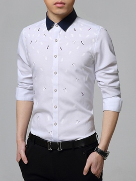 Ericdress Long Sleeve Elegant Print Slim Men's Shirt