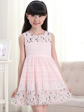 Ericdress Hollow Texture of Cloth Print Belt Girls Dresses