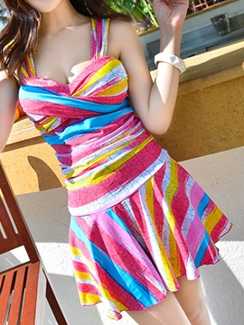 Ericdress Colorful Stripe Pleated Vogue Swimwear