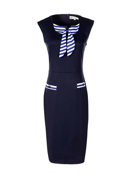 Ericdress Stripe Patchwork Bowknot Sleeveless Sheath Dress