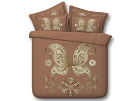 Ericdress Golden Butterfly Print 3D Bedding Sets