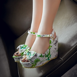 Ericdress Floral Print Bowtie Wedge Sandals