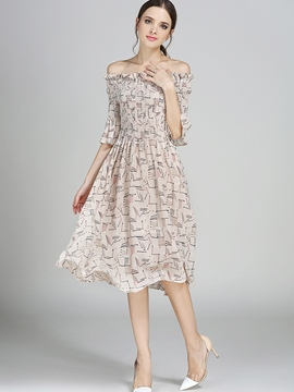 Ericdress Slash Neck Floral Knee-Length Casual Dress