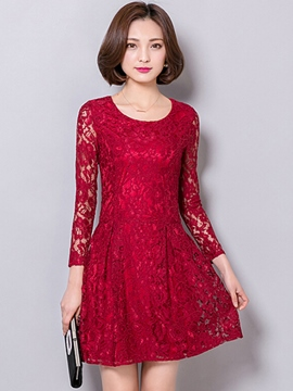 Ericdress Solid Color Long Sleeve A-Line Lace Dress