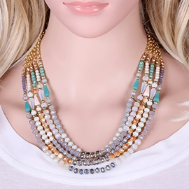 Ericdress Multilayer Glass Beading Necklace