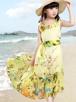 Ericdress Floral Print Bohemian Girls Dress