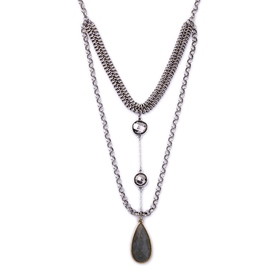 Ericdress Black Gemstone Multilayer Necklace
