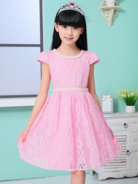Ericdress Solid Color Lace Girls Dress