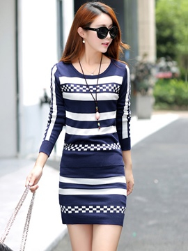 Ericdress Stripe Knitwear Suit