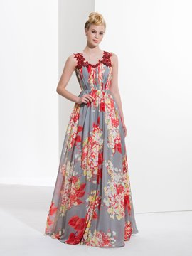 Ericdress A-Line Scoop Appliques Pleats Printed Sequins Long Prom Dress