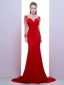 Ericdress Long Sleeves Scoop Trumpet Beading Crystal Court Train Evening Dress