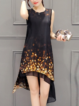 Ericdress Print Asymmetric Sleeveless Casual Dress