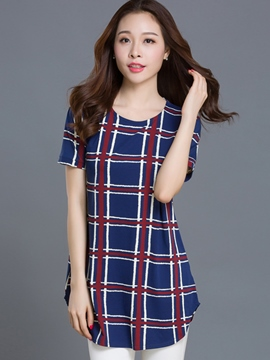 Ericdress Plaid Plus Size T-Shirt