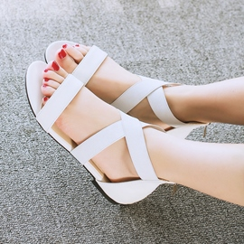 Ericdress Cross Band Open Toe Flat Sandals