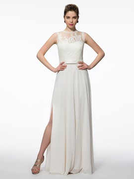 Ericdress A-Line Scalloped-Edge Lace Split-Front Long Evening Dress
