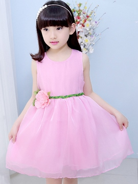 Ericdress Gauze Belt Appliques Pleated Sleeveless Girls Dresses