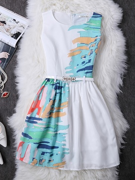 Ericdress Print Patchwork Belt Casual Dress