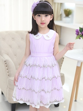 Ericdress Lace Patchwork Girls Dress