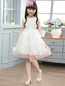 Ericdress Lace Mesh Floral Girls Sleeveless Dress