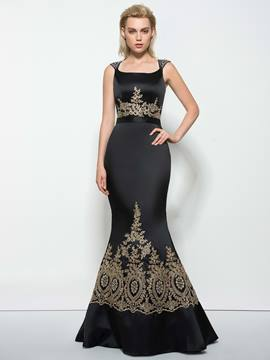 Ericdress Mermaid Straps Appliques Beading Sweep Train Evening Dress
