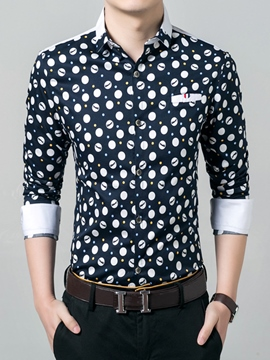 Ericdress Polka Dots Long Sleeve Formal Vogue Men's Shirt