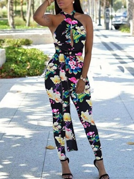 Ericdress Floral Print Backless Jumpsuits Pants