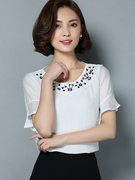 Ericdress Ruffle Sleeve Casual Blouse