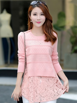 Ericdress Solid Color Slim Lace Patchwork Knitwear