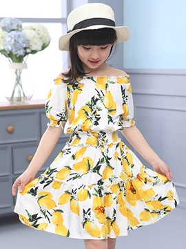 Ericdress Short Sleeve Print Girls Dress