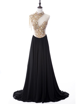 Ericdress Luxurious A-Line High Neck Beading Crystal Evening Dress