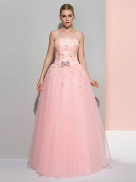 Ericdress Strapless A-Line Appliques Beading Bowknot Long Prom Dress