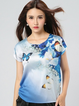 Ericdress Loose Butterfly Printed T-Shirt