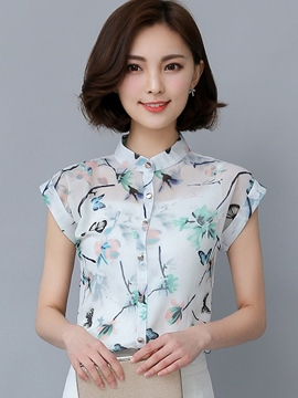 Ericdress Printed Single-Breasted Slim Blouse