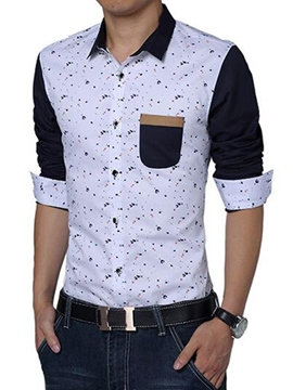 Ericdress Print Pocket Patchwork Slim Men's Shirt
