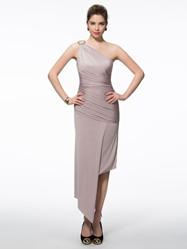 Ericdress One-Shoulder Sheath Ruched Asymmetry Evening Dress