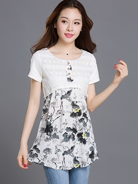 Ericdress High Waist Floral Print T-Shirt