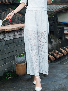 Ericdress Pastoral Lace Casual Pants