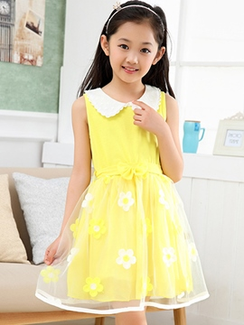 Ericdress Doll Collar Lace Print Suspenders Girls Dresses