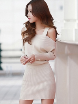 Ericdress Solid Color Knitted Bodycon Dress