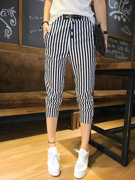 Ericdress Stripe Seven Points Casual Pants